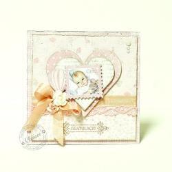 narodziny,dziewczynka,maleństwo,gratulacje - Kartki okolicznościowe - Akcesoria