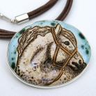 Naszyjniki naszyjnik,wisior,ceramika,srebro,koń,broszka