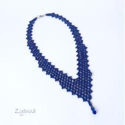 kolia,beading,szafirowa,elegancka - Naszyjniki - Biżuteria