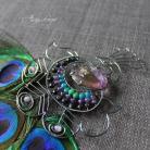 Broszki elegancka broszka,oksydowane srebro,pawie pióra