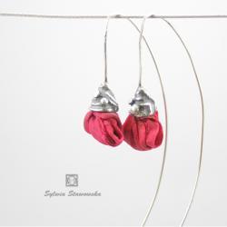 srebro,handmade,fuksja - Kolczyki - Biżuteria