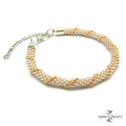 delikatna,koronkowa,róż,złoto, - Bransoletki - Biżuteria
