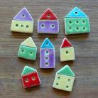 Magnesy na lodówkę domki,kolorowe,mini,magnesy