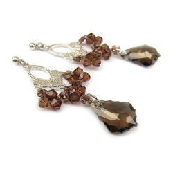 kolczyki Swarovski i srebro Mocca jesień długie - Kolczyki - Biżuteria