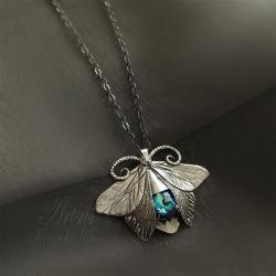 wisior,srebrny,motyl,ćma,Swarovski - Wisiory - Biżuteria