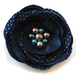 broszka,satyna,kwiat,kropki,elegancka,romanty - Broszki - Biżuteria