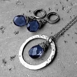 elegancki,ekskluzywny,granatowy,z kamieniami, - Komplety - Biżuteria