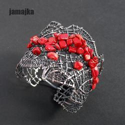 miedź,oksyda,pleciona,ornament,kuta - Bransoletki - Biżuteria
