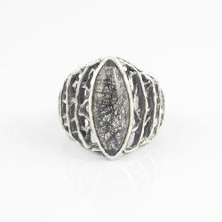 kwarc z turmalinem,schrol,inkluzje,ażurowy - Pierścionki - Biżuteria
