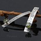 Kolczyki fakturowane srebro,cyrkonie,zieleń,geometryczne