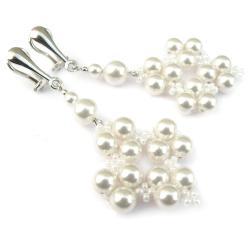 srebrne klipsy ślubne z białymi perłami Swarovski - Klipsy - Biżuteria