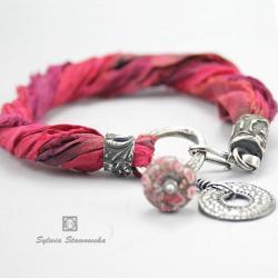 srebro,handmade,fuksja - Bransoletki - Biżuteria