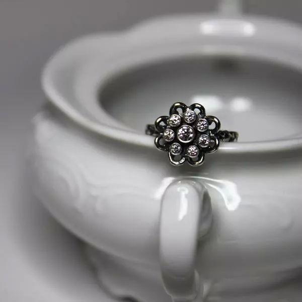 bcf4acb34e66b4 oryginalny pierścionek,oksydowany kwiat - Pierścionki - Biżuteria w ...