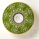 Ceramika i szkło lampion,świecznik,ceramiczny,serce,zielony