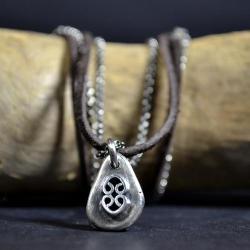 surowy rzemień,celtycki naszyjnik - Naszyjniki - Biżuteria