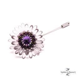 kwiat,kwiatek,fiolet,ametyst,brąz,romantyczna, - Broszki - Biżuteria