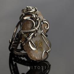 pierścionek,duży,wire-wrapping,litori - Pierścionki - Biżuteria