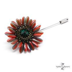 kwiat,kwiatek,czerwień,zieleń,brąz,romantyczna, - Broszki - Biżuteria