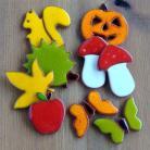 Magnesy na lodówkę kolorowe,jesienne,jeż,wiewiórka,liście