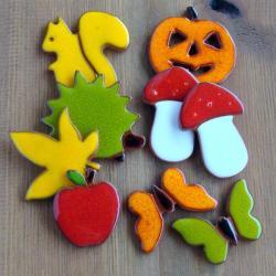 kolorowe,jesienne,jeż,wiewiórka,liście - Magnesy na lodówkę - Wyposażenie wnętrz