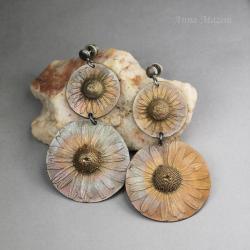 lato,kwiaty,rumianek,romantyczne,wiszące,łąka - Kolczyki - Biżuteria
