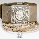 Bransoletki zegarek srebrny,zegarek damski
