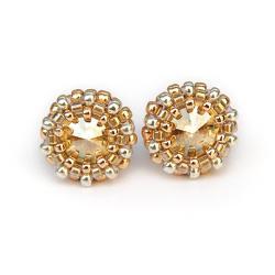 miniaturowe,skrzące sztyfty,Golden Shadow - Kolczyki - Biżuteria