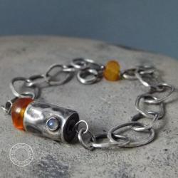 srebro,łańcuch,bursztyn,surowa,oksydowana - Bransoletki - Biżuteria