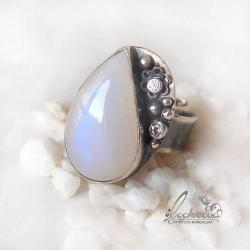 srebrny pierścionek,regulowany,kwiatowy - Pierścionki - Biżuteria