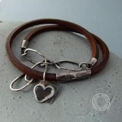 srebro,serce,boho,rzemień,skóra,surowa - Bransoletki - Biżuteria