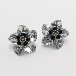 Silver Flowers - plecione kolczyki Swarovski - Kolczyki - Biżuteria