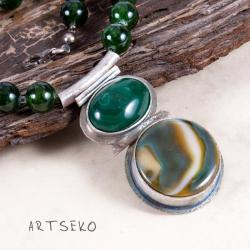 naszyjnik,srebrny,malachitem,surowy - Naszyjniki - Biżuteria
