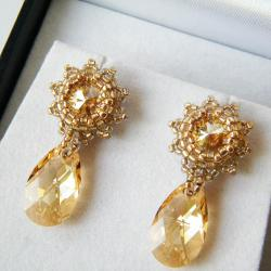 eleganckie,wieczorowe,błyszczące,karnawał,złote - Kolczyki - Biżuteria