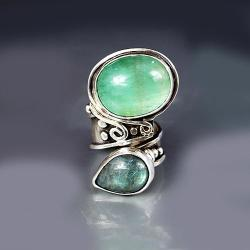 pierścionek z fluorytem i labradorytem - Pierścionki - Biżuteria