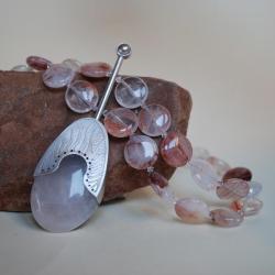 autorski,kwarc różowy,nitza,praca ręczna - Naszyjniki - Biżuteria
