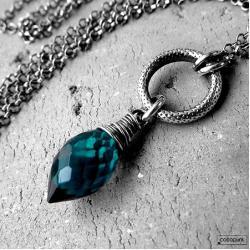 modry,morski,delikatny,kobiecy,srebrny - Naszyjniki - Biżuteria