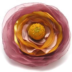 broszka,romantyczna,kwiat,satyna,filc - Broszki - Biżuteria