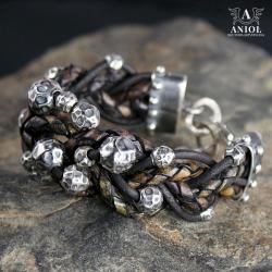 bransoleta skórzana,damska biżuteria ze skóry - Bransoletki - Biżuteria