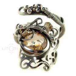 wire-wrapping,pirścionek,srebrny,delikatny - Pierścionki - Biżuteria