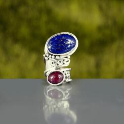 efektowny pierścień z lapisem i rubinem - Pierścionki - Biżuteria