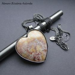 srebro,koral,fossil,serce,surowy - Wisiory - Biżuteria