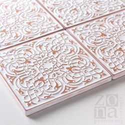 kafle,ręcznie robione,ornamentowe,białe - Ceramika i szkło - Wyposażenie wnętrz
