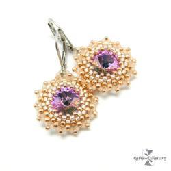 delikatne,koronkowe,swarovski,róż,złoto,kryształy - Kolczyki - Biżuteria