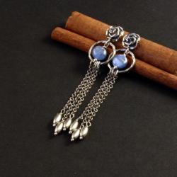 srebrne wiszące kolczyki z kyanitem - Kolczyki - Biżuteria