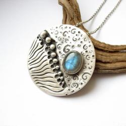 biżuteria srebrna,wisior z labradorytem,fiann - Wisiory - Biżuteria