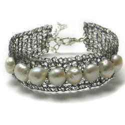 bransoletka,perły,elegancka,szydełkowa - Bransoletki - Biżuteria