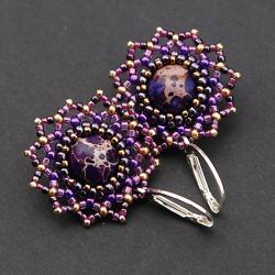 ażurowe,gwiazd,lekkie,delikatne,fioletowe - Kolczyki - Biżuteria