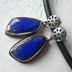 lapis lazuli,z lapisem lazuli,srebro oksydowane - Kolczyki - Biżuteria