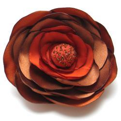 broszka,satyna,filc,ruda,romantyczna - Broszki - Biżuteria