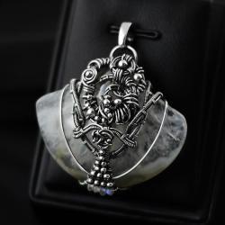wire-wrapping,agat,naszyjnik,kamień księżycowy - Naszyjniki - Biżuteria